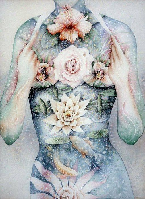 torso of a woman with blossoming flowers for chakras symbolizing transformation life coaching