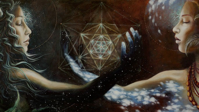 Two dreaming woman holding sacred geometry sphere