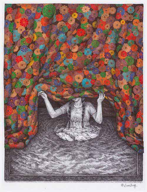 black and white girl in water lifting vibrantly colored curtain representing dream work therapy