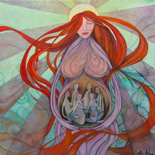 Colorful woman in dreaming state with image of circle of women in her womb representing dream interpretation training