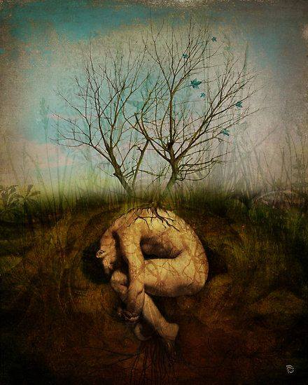 A Woman curled up underground with tree sprouting new growth above her representing transformation life coaching