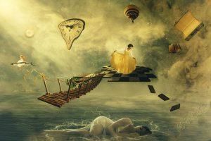 woman dreaming with surreal images surrounding her to answer what is dreamwork